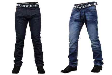 Groupon Goods Global GmbH - Crosshatch Gamitto Mens Belted Jeans - Save 0%