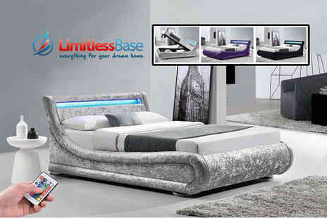 Limitless Base - Crushed velvet LED ottoman double or king size bed - Save 79%