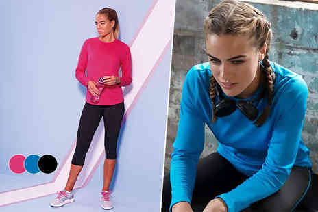 Treats on Trend - Ladies long sleeved training top choose from pink, blue and black - Save 64%