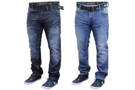 Groupon Goods Global GmbH - Mens Crosshatch Embossed Jeans With Free Delivery - Save 0%
