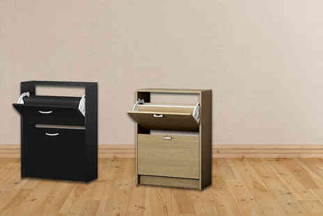 E4Emporium - Shoe storage cabinet choose from black or oak - Save 65%