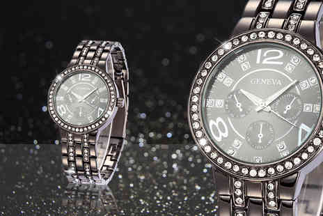 Alvis Fashion - Black crystal Geneva watch - Save 90%