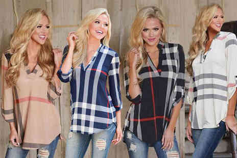 The Wholesale Group - V neck checked shirt choose from four colours - Save 69%