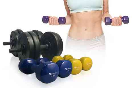 Consumable Direct - Two 3kg, 5kg,10kg  vinyl dumbbells work up a sweat - Save 52%