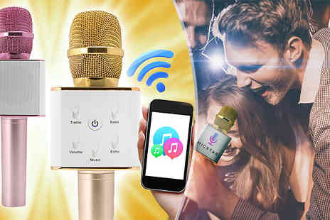 Bootiqueshops - Gold or Pink Bluetooth Retro Karaoke Microphone - Save 0%