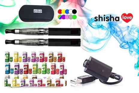 Love Shisha - Two rechargeable vape pens with four e liquids choose from 10 colours - Save 44%