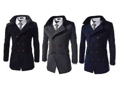 Bluebell Retail - Mens contrast collar smart coat choose from black, navy and grey - Save 66%
