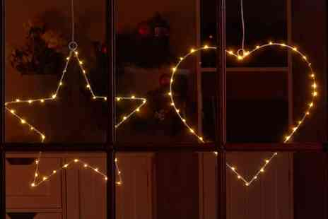 Groupon Goods Global GmbH - One or Two Decorative Hanging Heart or Star Led Lights - Save 56%