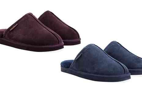 Groupon Goods Global GmbH - Mens Suede Sheepskin Slippers With Free Delivery - Save 79%