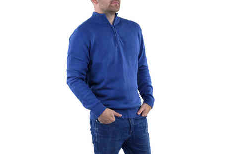 Stallion Clothing - Zip neck jumper bringing winter style in black & blue - Save 0%