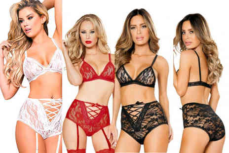Who Runs the World - Tie Me Up high waisted lace lingerie set - Save 70%