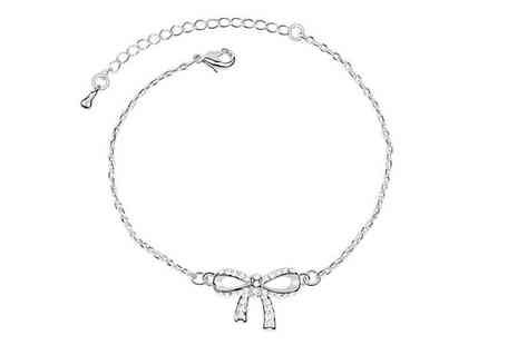 Bonicaro Design - White Gold Plated Crystal Bow Bracelet - Save 90%