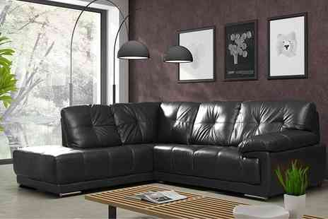 Groupon Goods Global GmbH - Alexis Leather Three Plus Two Sofa or Corner Sofa in Choice of Colour With Free Delivery - Save 53%