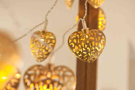 Ckent Ltd - String of 10 copper heart LED lights - Save 53%