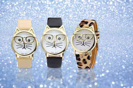 Solo Act  - Womens cat geek watch choose from leopard print, black or cream - Save 76%