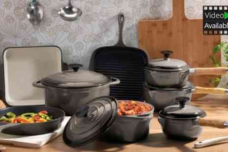 Groupon Goods Global GmbH - Cooks Professional Deluxe Cast Iron Pan Sets 3, 5 or 8 Piece With Free Delivery - Save 62%
