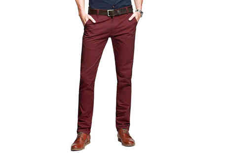 Stallion Clothing - Mens slim fit chinos in black, brown, ice blue, navy & ox blood - Save 0%