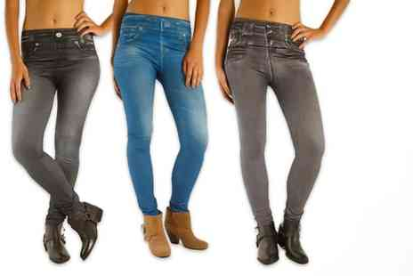 Glam Bazaar - Three pack of fleece lined winter jeggings - Save 58%