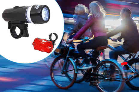 ViVo Technologies - Set of wide beam waterproof five LED bike head and rear lights - Save 77%