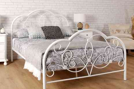 Groupon Goods Global GmbH - Versailles Metal Bed Frame Plus Mattress With Free Delivery - Save 80%