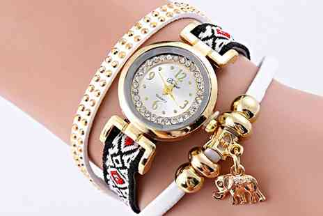 Groupon Goods Global GmbH - Gold Plated Elephant Charm Wrap Watch with Crystals - Save 60%