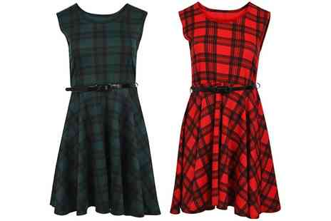Groupon Goods Global GmbH - Womens Tartan Check Franki Skater Dress - Save 0%