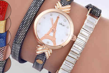 Romatco - Eiffel Wrap Watches Made with Crystals from Swarovski in 5 Colours - Save 70%