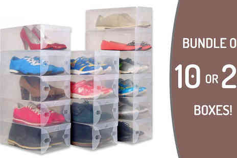 Snap One Up - Transparent Stackable Shoe Box Organisers of 10 or 20 - Save 52%
