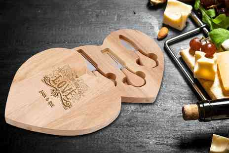 The Gift Mill - Personalised Valentines cheese board and knife set choose from nine designs - Save 52%