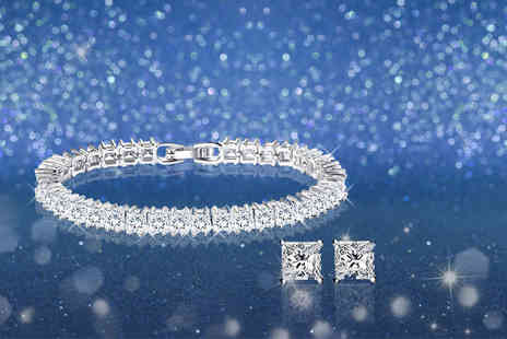 Fakurma - Tennis bracelet and earrings set - Save 91%