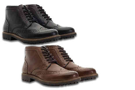 Shoeprimo - Pair of mens brogue boots choose black or brown - Save 75%