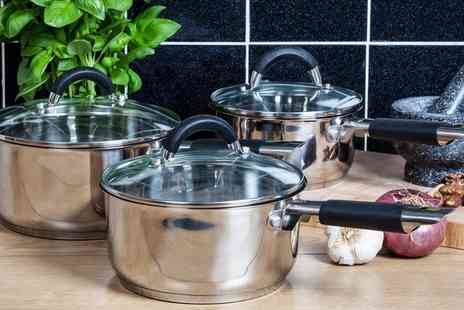 Groupon Goods Global GmbH - Tower Stainless Steel Three Piece Saucepan Set - Save 71%