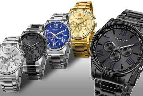 Groupon Goods Global GmbH - Akribos XXIV Mens Multifunction Bracelet Watch for With Free Delivery - Save 10%