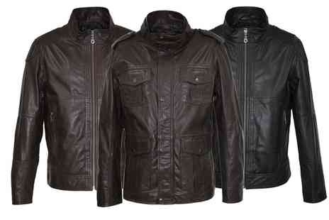 Groupon Goods Global GmbH - Mens Leather Biker or Utility Jacket With Free Delivery- Save 74%