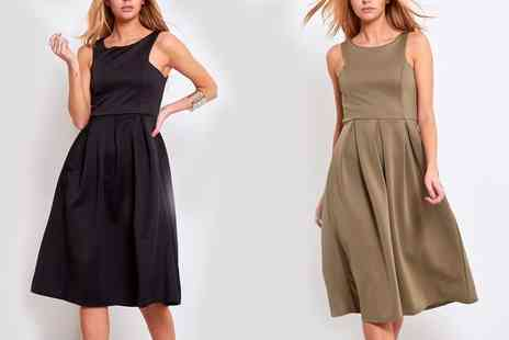 Groupon Goods Global GmbH - Cutaway Pleated Midi Dress in Choice of Size and Colour - Save 57%