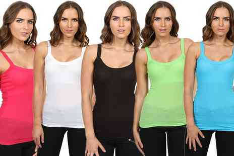 Groupon Goods Global GmbH - Womens Six Pack of Rib Strap Vests - Save 0%