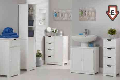Groupon Goods Global GmbH - Crisp White Bathroom Furniture Range With Free Delivery - Save 36%