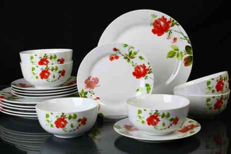 Groupon Goods Global GmbH - 18 Piece Misty Rose Floral Dinner Set With Free Delivery - Save 33%