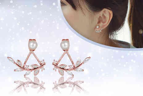 Fakurma - Pair of double leaf earrings choose from silver, gold or rose gold colours - Save 90%