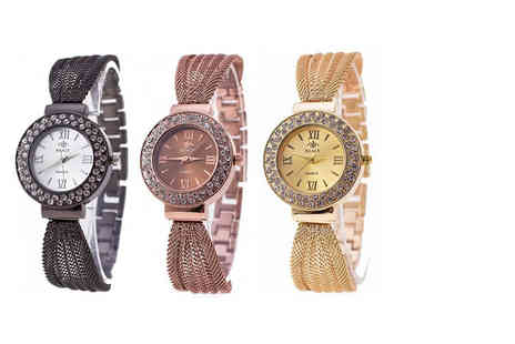 Fakurma - Ladies mesh bracelet watch choose from four colours - Save 82%