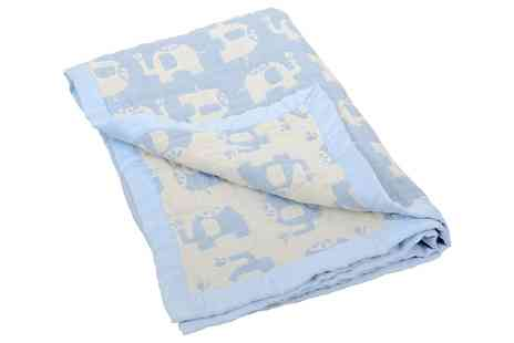 Groupon Goods Global GmbH - Jacquard Lightweight Blue Elephant Muslin Blanket - Save 0%