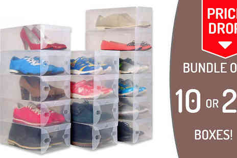 Snap One Up - 10 or 20 Transparent Stackable Shoe Box Organisers - Save 57%