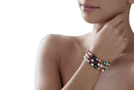 Groupon Goods Global GmbH - Three, Five or Ten Multicoloured Pearl Stretch Bracelets - Save 72%