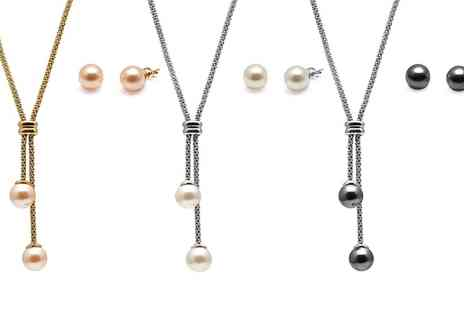 Groupon Goods Global GmbH - Set of Lariat Necklace and Earrings with Pearls from Swarovski - Save 76%