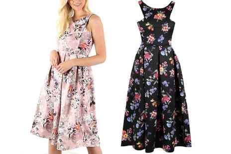 Groupon Goods Global GmbH - Floral Cutaway Swing Pleated Dresses - Save 43%