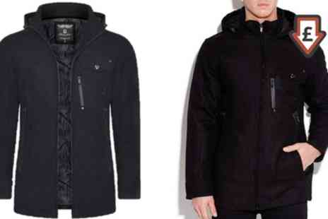 Groupon Goods Global GmbH - Mens Brave Soul Wool Mix Hooded Coat With Free Delivery - Save 0%