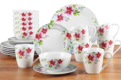 Groupon Goods Global GmbH - 24 Piece Lily Porcelain Dinner Set With Free Delivery - Save 54%