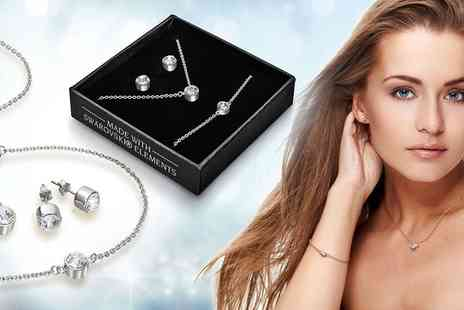Groupon Goods Global GmbH - Classic Necklace, Bracelet and Stud Earrings Set with Crystals - Save 90%