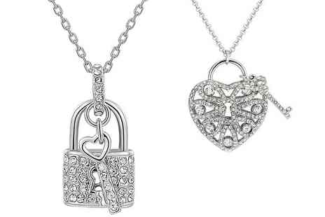Groupon Goods Global GmbH - Key to My Heart Necklace or Two Heart and Lock Necklaces - Save 53%