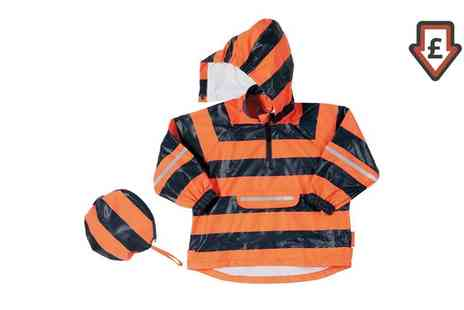 Groupon Goods Global GmbH - Kids Playshoes Orange Striped Rain Poncho With Pouch - Save 0%